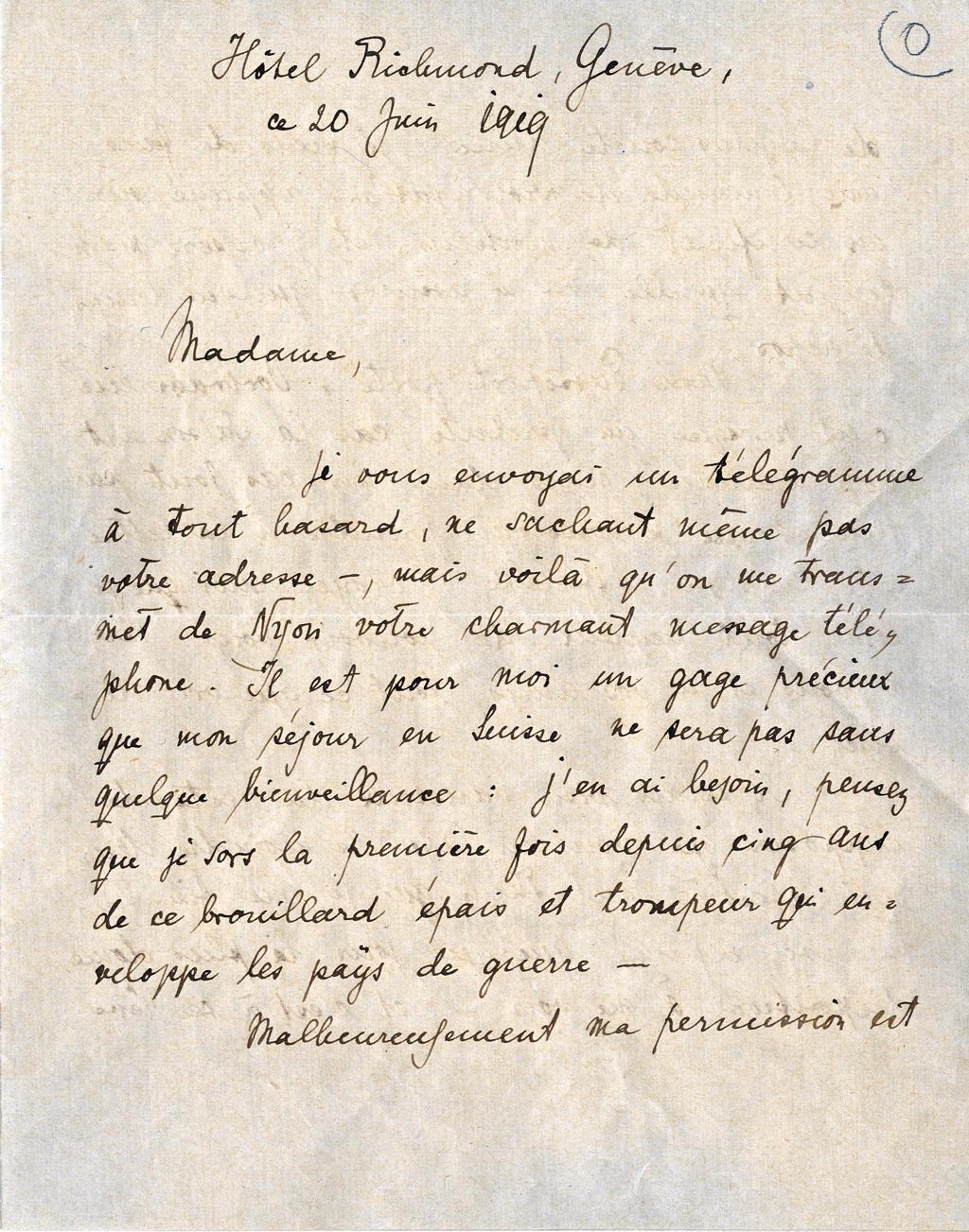Lettre de Rilke à Yvonne de Wattenwyl, 20 juin 1919