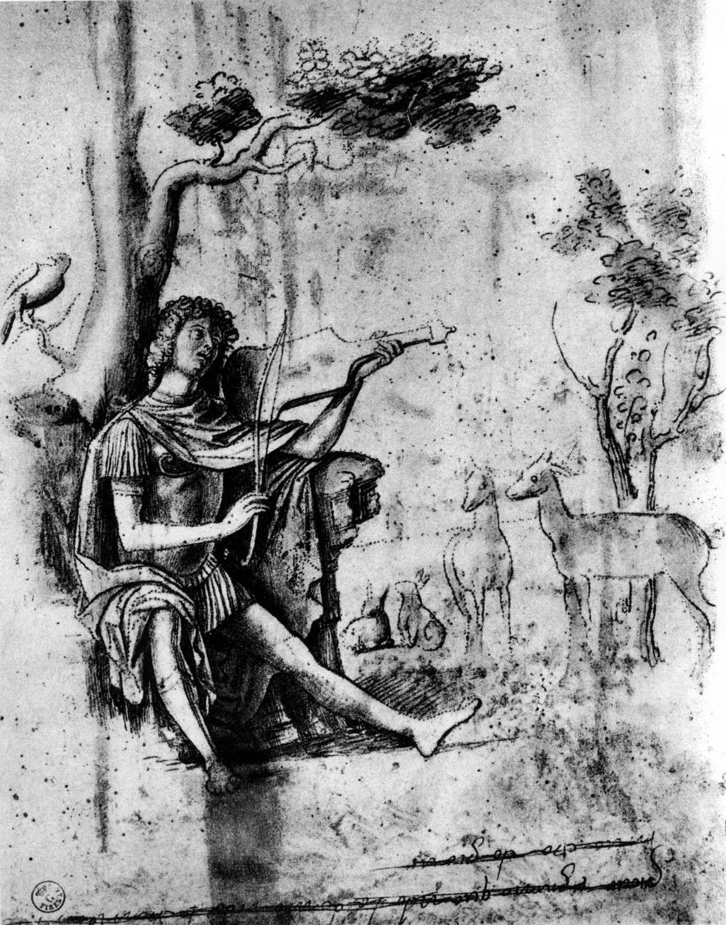 Giovanni Battista Cima da Conegliano (1459-1517), Orphée,  dessin à la plume (Florence)