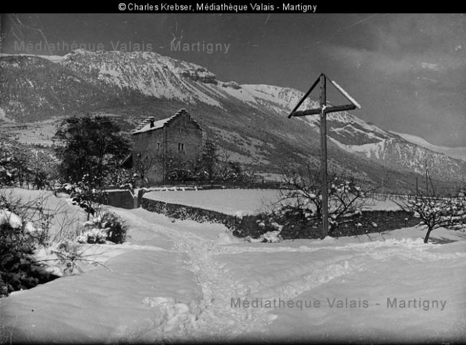 Muzot im Winter, 1927, Charles Krebser (Médiathèque Valais)