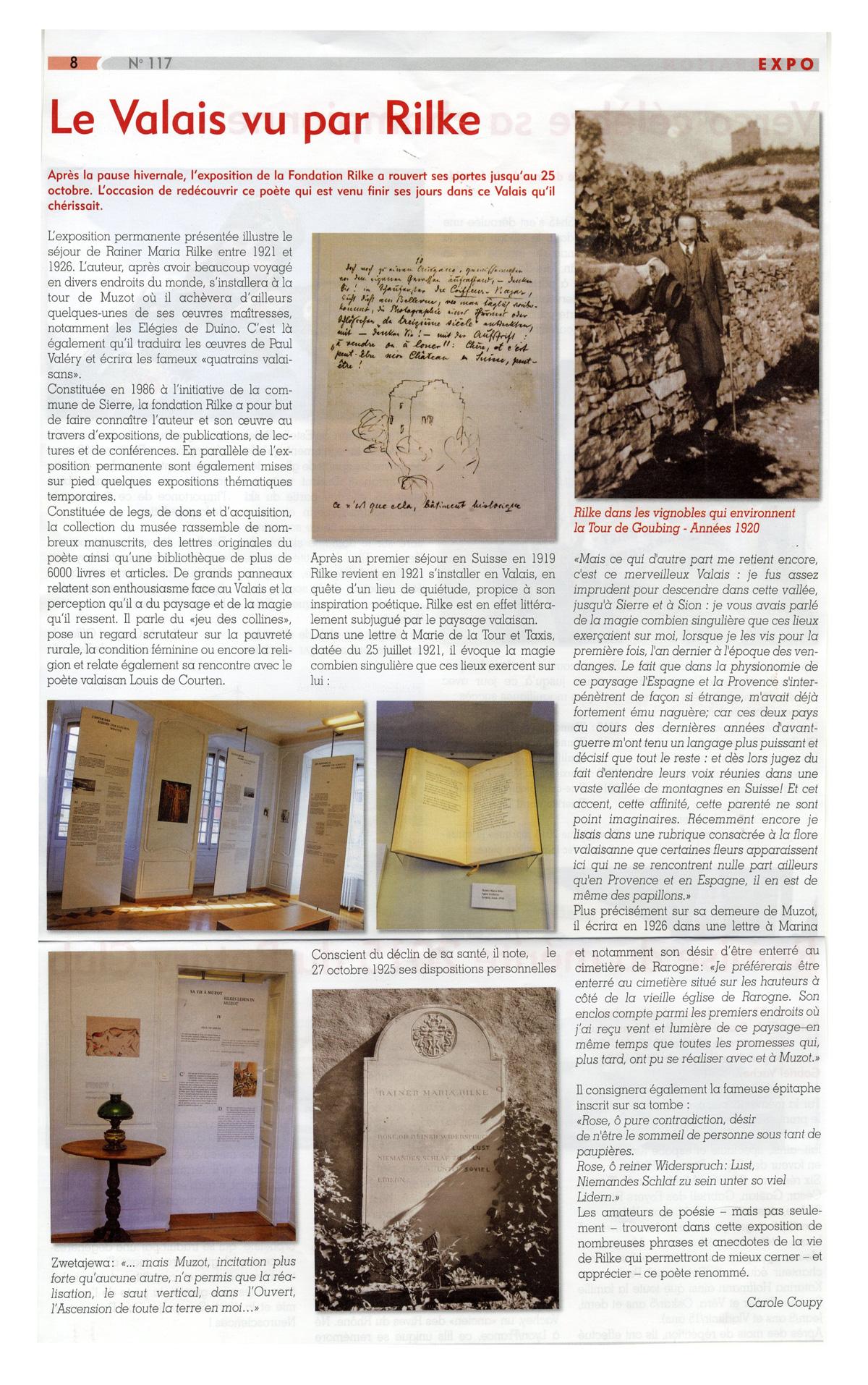 Article: Le Valais vu par Rilke