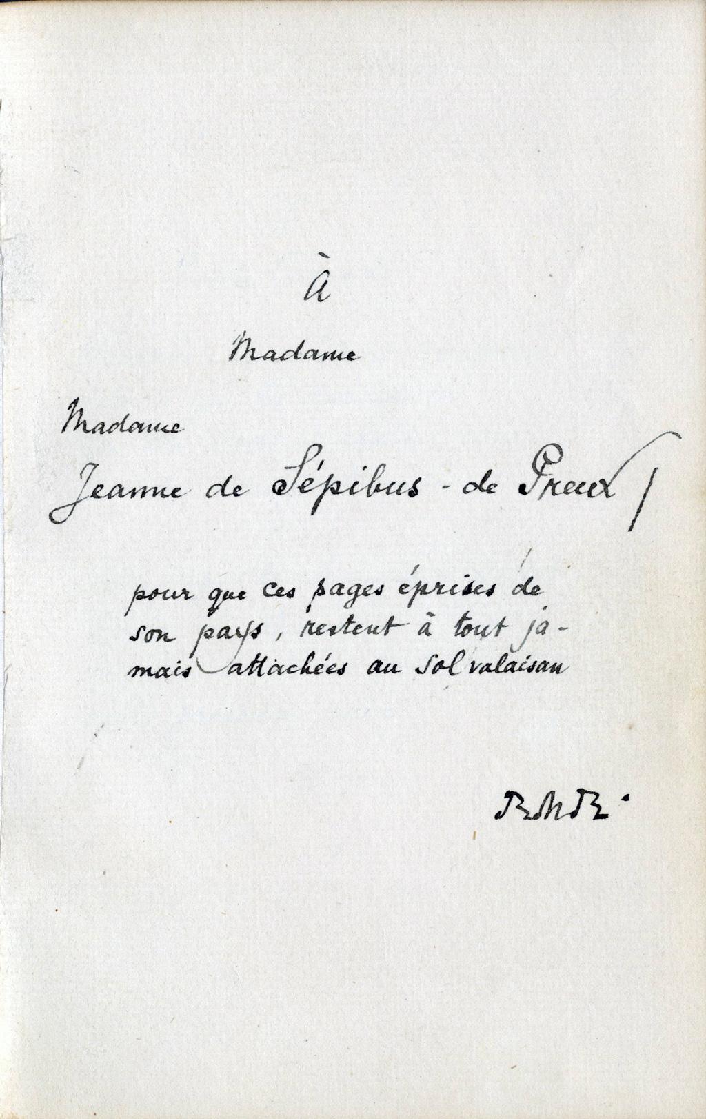 Rilkes Widmung an Jeanne de Sépibus, Les Quatrains Valaisans