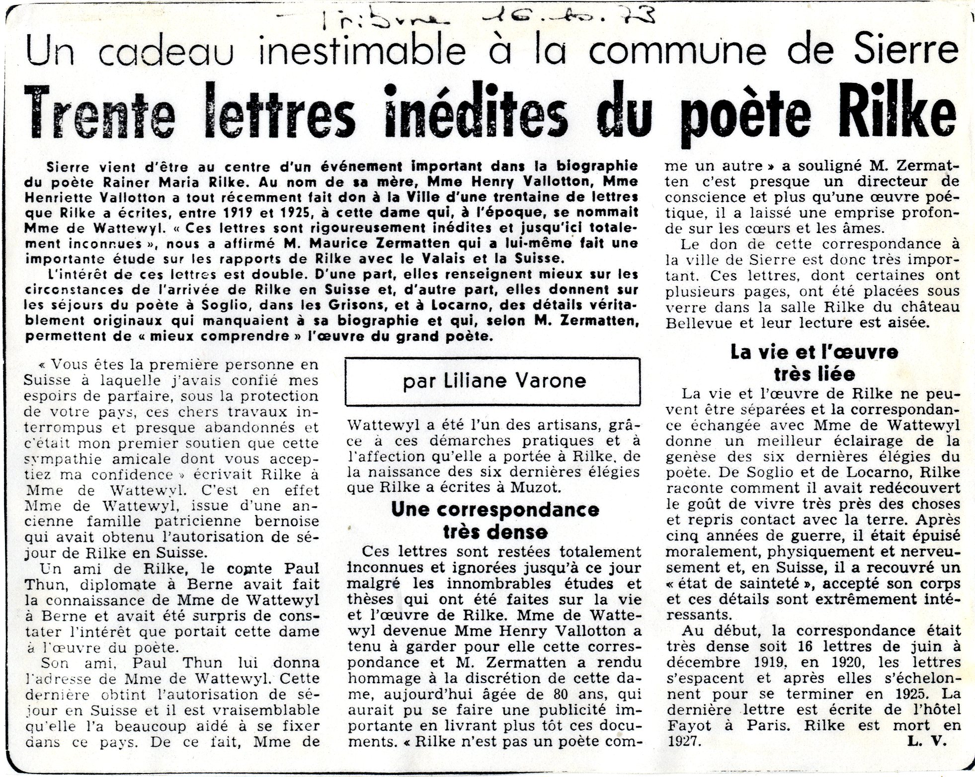 Donation 1975, article de presse